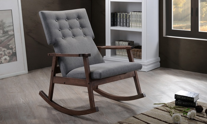 Agatha Midcentury Modern Upholstered Button Tufted Rocking Chair: Agatha  Midcentury Modern Fabric Upholstered Button ...