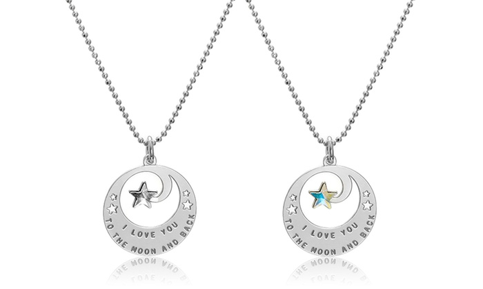 SilvexCraft Design: One or Two Star-in-Ring Engraved Necklaces with Swarovski Elements from SilvexCraft Design (Up to 76% Off)