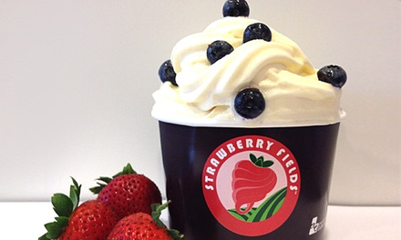 Frozen Yogurt at Strawberry Fields Self-Serve Frozen Yogurt (Up to 50% Off). Eight options Available.