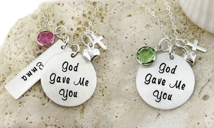"JC Jewelry Design: ""God Gave Me You"" Necklace with Birthstone Charm & Optional Custom Name Charms from JC Jewelry Design (49% Off)"