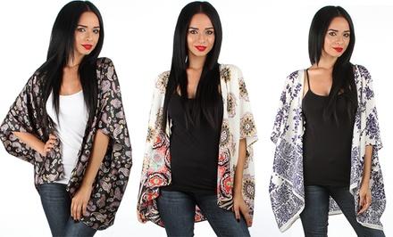 Printed V-Back Kimono Cardigan