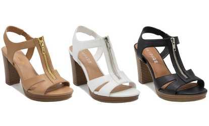 18fef1eca68c Shop Groupon Rampage Women s Zip-Up Block-Heel Sandals