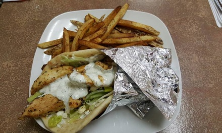 Two Gyros with Fries and Drinks at Helios Greek Grill (40% Off)