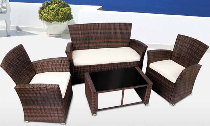 Rattan patio furniture set groupon goods for Outdoor furniture groupon