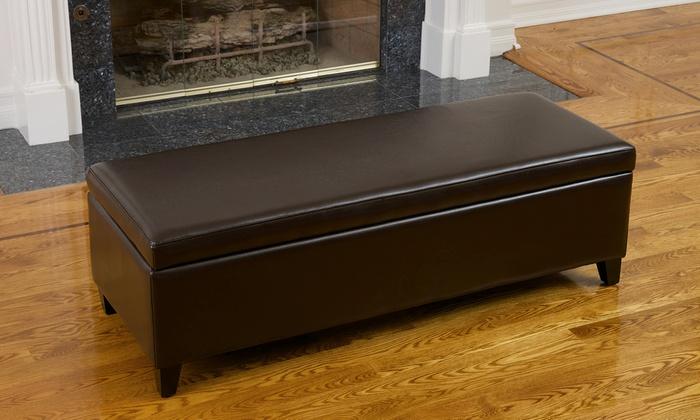 brown leather storage ottoman groupon goods. Black Bedroom Furniture Sets. Home Design Ideas