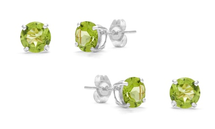 2.00 CTTW Genuine Peridot Stud Earrings by GemmaLuna (1- or 2-Pack)