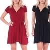 Women's Solid Wrap Summer Swing Dress