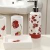 Modern Floral Ceramic Bath Accessory Sets (4-Piece)