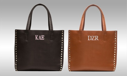 Monogrammed Studded Cognac or Black GenuineLeather Tote from Luce Mia (80% Off)