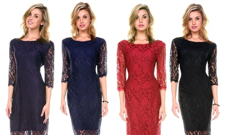 Women's Plus Size Lace Cocktail Dress
