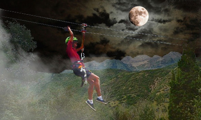 Adventure Zipline - Provo Canyon: $39 for a After-Dark Halloween Zipline Canopy Tour from Adventure Zipline ($78 Value)