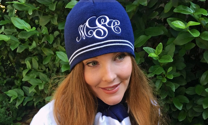 Embellish Accessories and Gifts: One, Two, or Four Monogrammed Winter Hats from Embellish Accessories and Gifts (Up to 52% Off)
