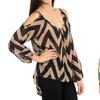 Women's Chevron-Print Blouse with Cutout Shoulders