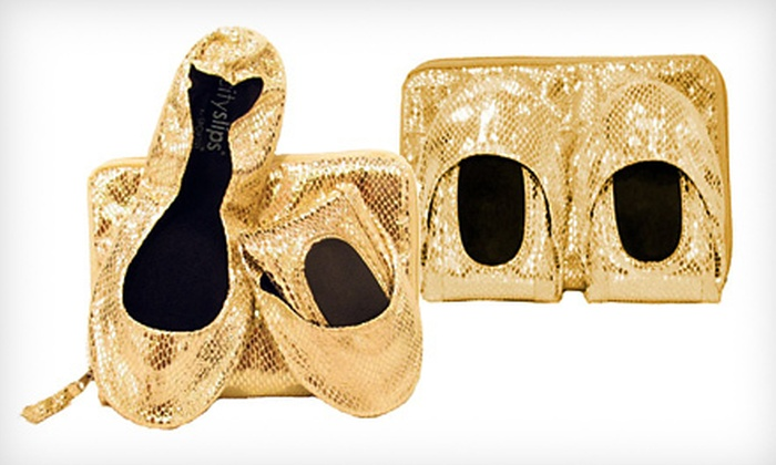 Gold Snakeskin CitySlips Foldable Flats: $15 for Gold Snakeskin CitySlips Foldable Flats in S–XL with Matching Carrying Pouch ($33.95 List Price). Free Shipping.