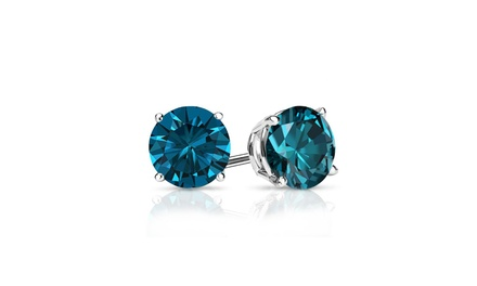 One or Two Pairs of 2.00 CTTW London Blue Topaz Stud Earrings in Sterling Silver