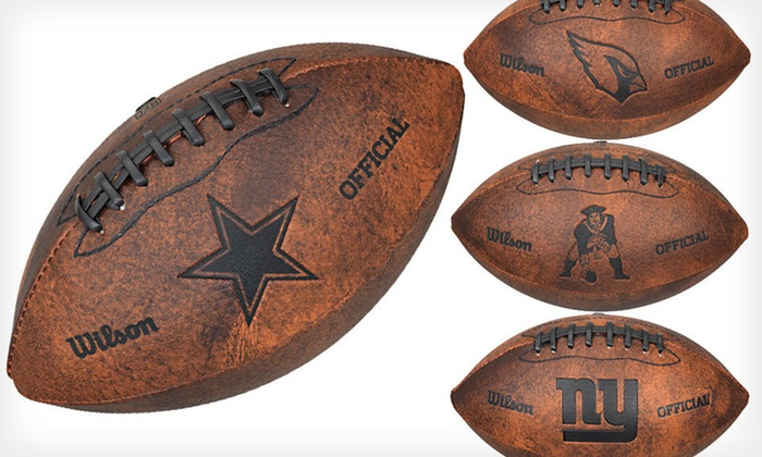 Wilson NFL Throwback Football: $12 for a Wilson 9 In. NFL Throwback Football ($17.99 List Price). 23 Teams Available. Free Shipping and Free Returns.