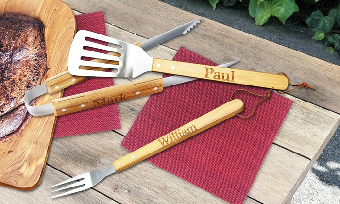 Monogram Online: One, Two, or Three Personalized BBQ Bamboo Utensils from Monogram Online (Up to 78% Off)