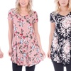 Women's Short Sleeve Floral V-Neck Tunic Top. Plus Sizes Available.