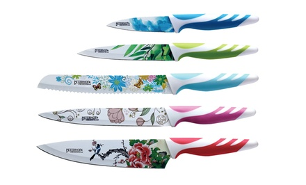 groupon daily deal - 5-Piece Antibacterial Knife Set. Multiple Colors Available. Free Returns.