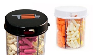 Six-compartment Pill Dispenser With Easy-grip Lid