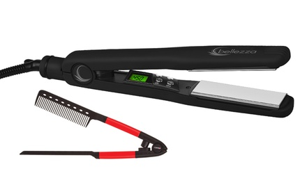 groupon daily deal - Bellezza Infrared Titanium-Plate Flat Iron and Free EZ Comb