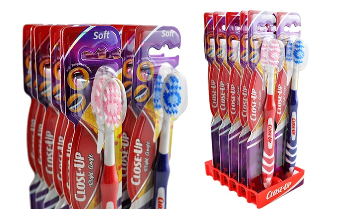 12-Pack of Close-Up Right Angle Toothbrushes: 12-Pack of Close-Up Right Angle Toothbrushes with Medium or Soft Bristles