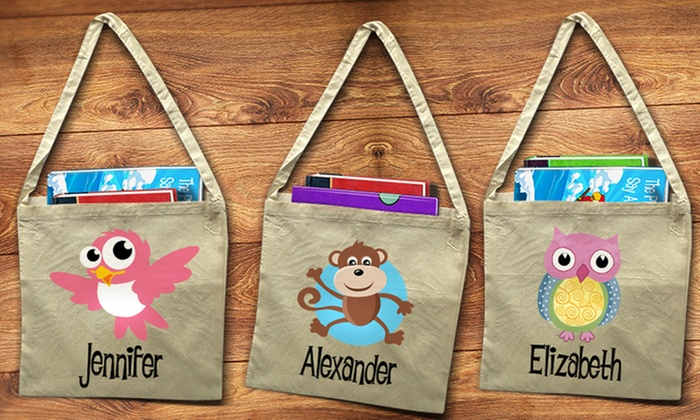 Dinkleboo: One, Two, or Three Personalized Library Tote Bags from Dinkleboo (Up to 58% Off)