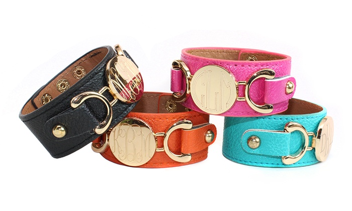 Allyanna Gifts: Monogrammed Leather Cuffs from Allyanna Gifts (Up to 62% Off)