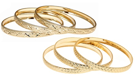 18-Karat Gold-Plated 3-Piece Bangle Set