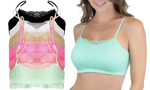 Women's Padded Seamless Color Lace-Cami Bralettes (6-Pack)