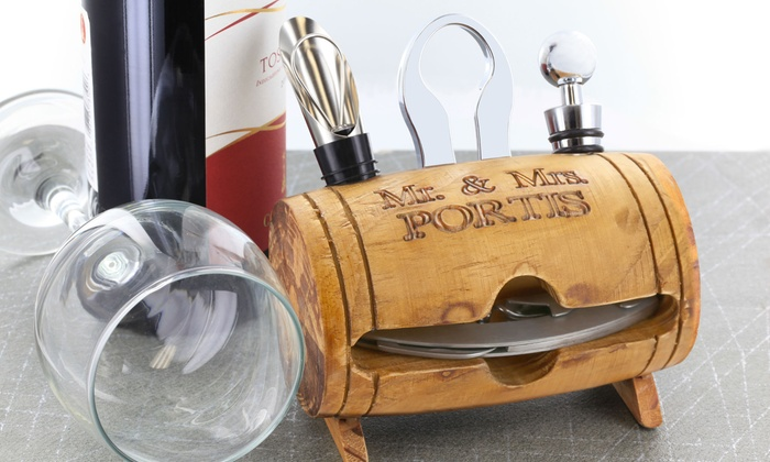 Monogram Online: $24.99 for a Personalized Barrel Wine-Tool Set from Monogram Online ($39.99 Value)