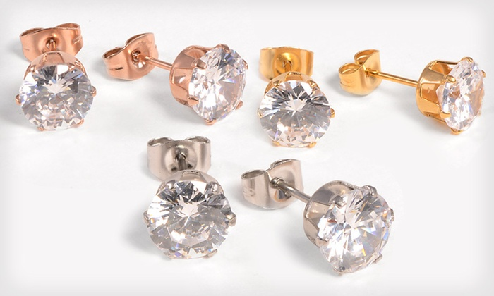 Simulated Diamond Earrings: $9 for Three Pairs of Simulated-Diamond Earrings ($49 List Price). Free Shipping.