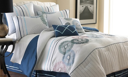 Eight-Piece Quincy Embroidered Comforter Set. Multiple Sizes Available.