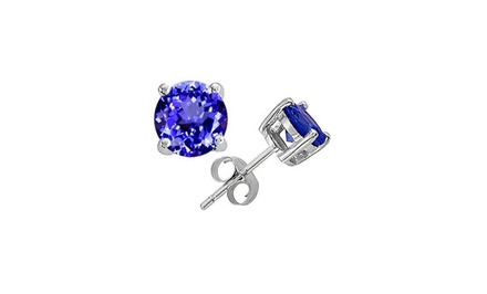 1/2 CTTW Genuine Tanzanite Stud Earrings
