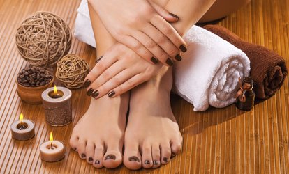 image for Spa Manicure and <strong>Pedicure</strong> at Gliltter Tips (Up to 42% Off)