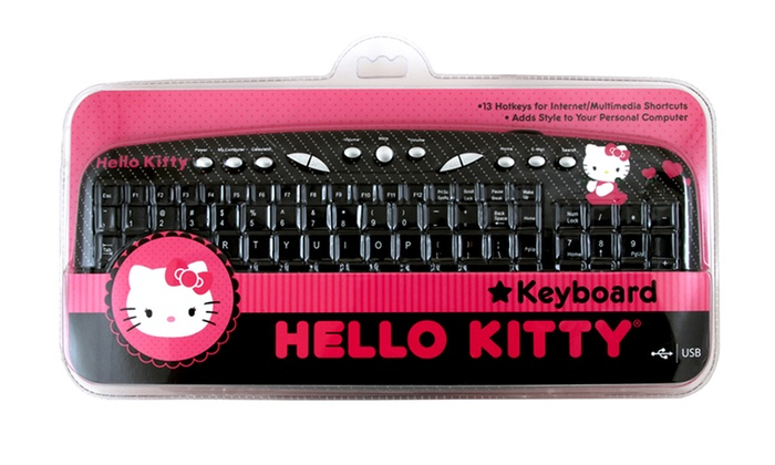 hello kitty usb keyboard groupon goods. Black Bedroom Furniture Sets. Home Design Ideas