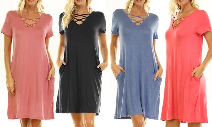 Women's V-Neck Criss-Cross Loose-Knit Dress