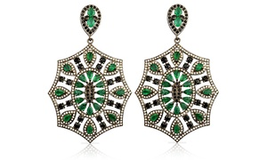16.00 CTTW Genuine Diamond and Emerald Earrings: 16.00 CTTW Genuine Emerald and Black and White Diamond Dangle Earrings