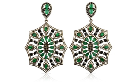 16.00 CTTW Genuine Emerald and Black and White Diamond Dangle Earrings