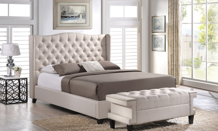 Delicieux Tufted Upholstered Wingback Platform Bed ...