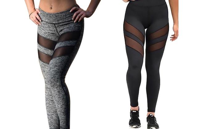 fee953feb8c7d1 Women's Mesh Insert Workout Leggings | Groupon