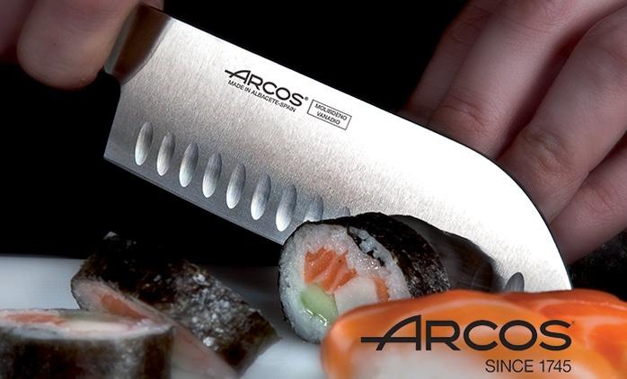 """סכין שף 20 ס""""מ או סכין סנטוקו 18 ס""""מ מבית ARCOS ספרד, אפשרות למשחיז דו-שלבי"""