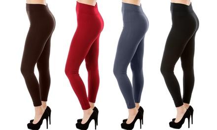 Lyss Loo Plus-Size Fleece Leggings (4-Pack)