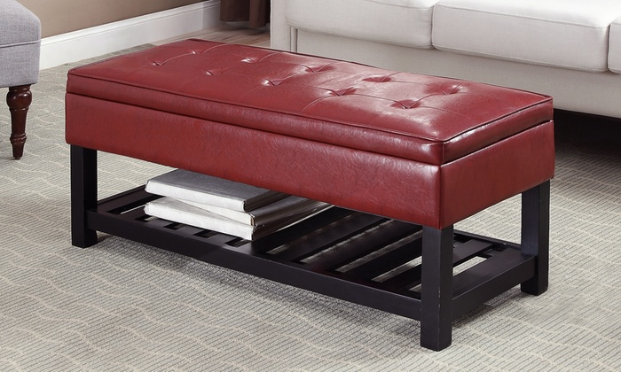Storage Bench With Bottom Shelf Groupon Goods