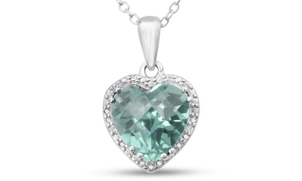 3.75 CTW Green Amethyst and Diamond Heart Necklace In Sterling Silver