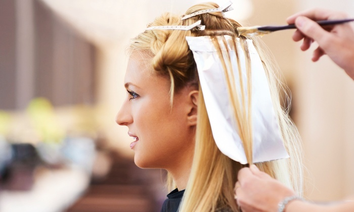 Salon Purple - Multiple Locations: Haircut and Style with Full Color or Partial or Full Highlights at Salon Purple (Up to 52% Off)