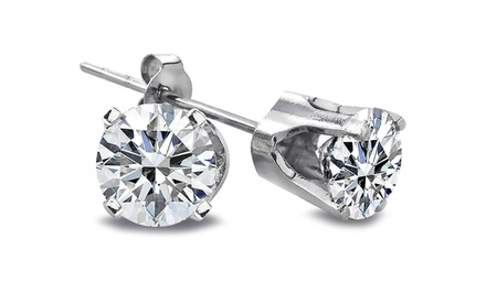1/2-Carat Round Diamond and 14-Karat White Gold Stud Earrings
