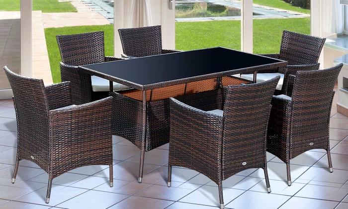 Six seat rattan effect dining set groupon goods for Outdoor furniture groupon