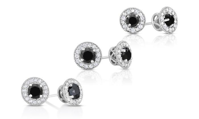 Genuine Black Diamond And White Topaz Stud Earrings