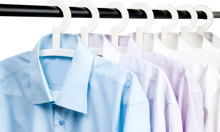 Shirt washing and ironing silk dry cleaners groupon for How to clean white dress shirts
